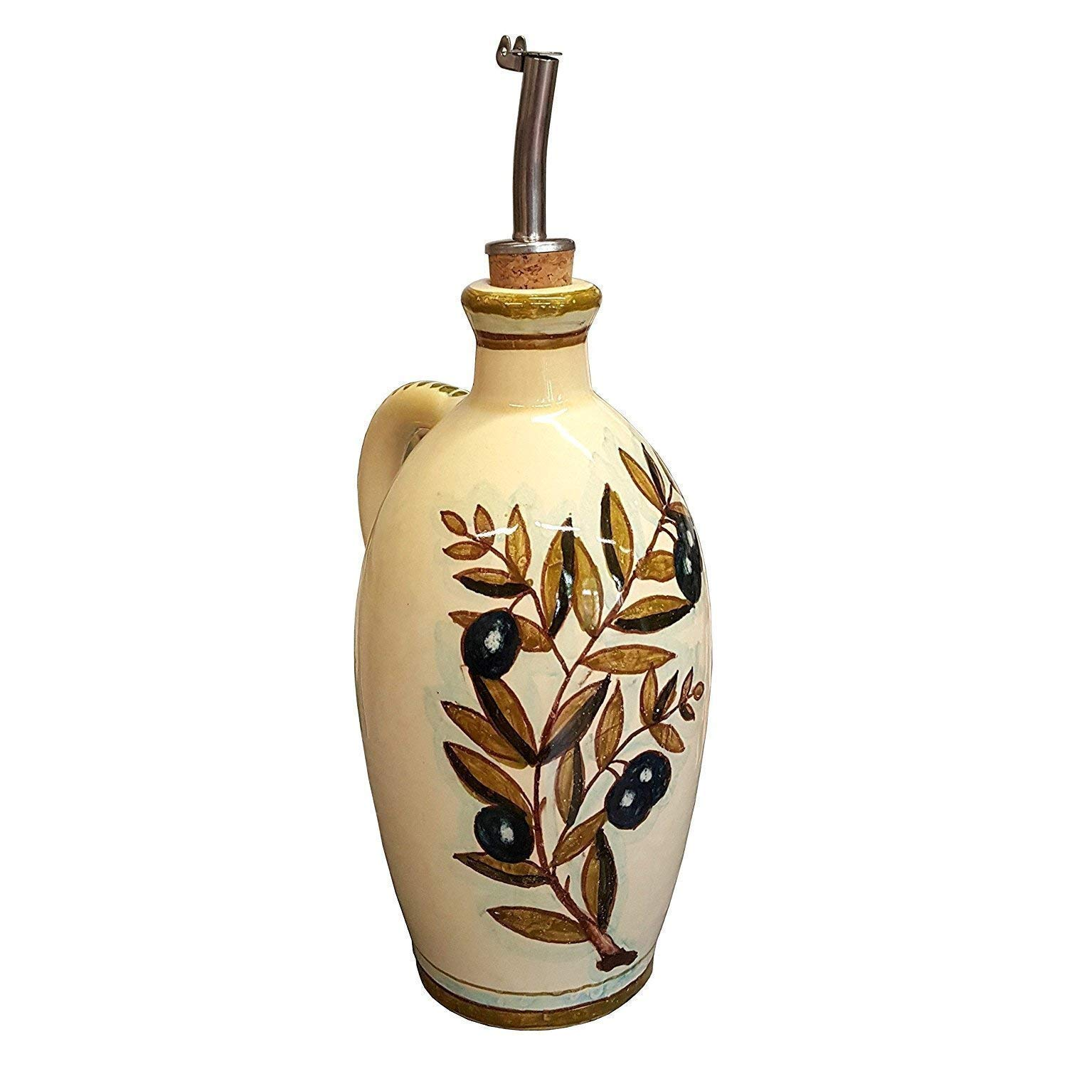 CERAMICHE D'ARTE PARRINI - Italian Ceramic Art Pottery Oil Cruet Bottle Hand Painted Decorated Olives Made in ITALY Tuscan