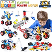 kidpal Building Toys Kit, 5 in 1 STEM Toy with Electric Power Motor for Kid, Educational Construction Learning