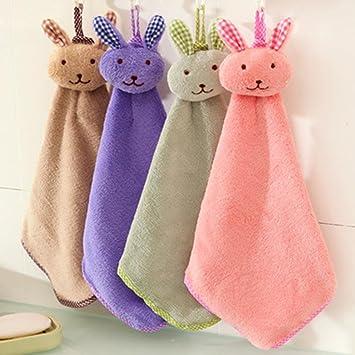 gessppo bebé toalla de mano Cartoon Animal conejo de peluche con cocina suave para colgar toalla de baño limpiador de cocina limpieza accesorio: Amazon.es: ...