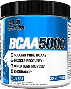 Evlution Nutrition BCAA5000 Powder 5 Grams of Branched Chain Amino Acids (BCAAs) Essential for Performance, Recovery, Endurance, Muscle Building, Keto Friendly, No Sugar (30 Servings, Blue Raz)