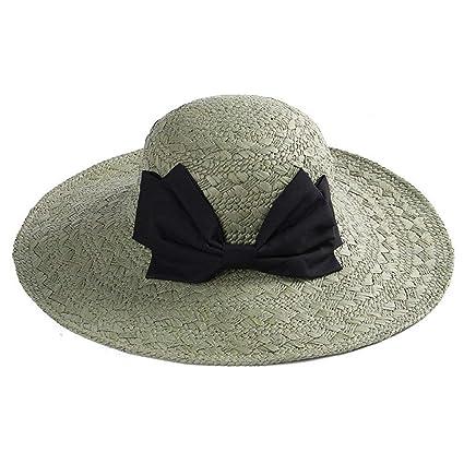 Eeayyygch Gorra de Lazo Sombrero de Paja Sombrero de Sol Sombrero Redondo  Grande Sombrero de Playa 95783c6a9e6