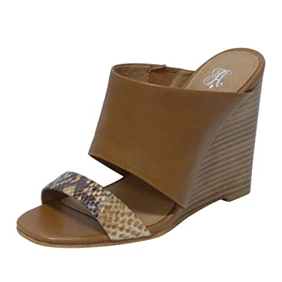 f5aab0556c Amazon.com | ANDREW STEVENS Geneva Leather Wedge Slide Sandals for Women |  High Heel Slip-on Shoes with Open-Toe, Padded Insole, and Wide Width, Black,  ...