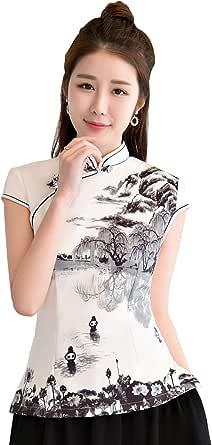 Shanghai Story Blend Cotton Cheongsam Top White Qipao Shirt Printed Chinese Blouse with Skirt