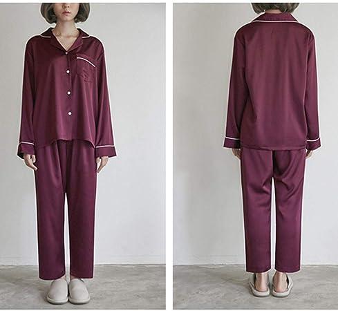 YYXJLG Pijama,Pijama Rojo Vino Cozy Soft Pantalones Largos Conjunto de Camisa Ropa de Dormir Pijamas de Manga Larga Mujeres Invierno Ropa de casa Traje Nuevo, Sra. Traje, M (40,55kg): Amazon.es: Hogar