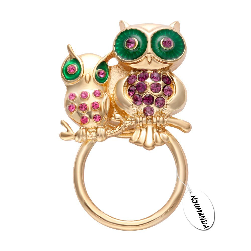 NOUMANDA Dainty Owl Mom and Owlet Baby Magnetic Eyeglass Holder Brooch (Style 1)