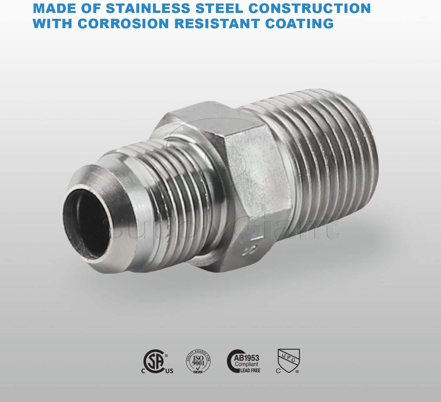 Flextron FTGF-12M12 1//2 Outer Diameter Flare Thread to 1//2 Mip Gas Connector Adapter Fitting