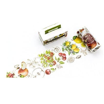 Fruit Apple Lemon Cherry Pomegranate Washi Tape Set de 1 rollo – Planificador decorativo DIY japonés