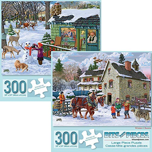 Bits and Pieces - Set of Two (2) 300 Piece Jigsaw Puzzles for Adults - Each Puzzle Measures 18 X 24 - Maple Sap Timer, Winter Chores Jigsaws by Artist Joseph Burgess