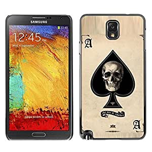 Colorful Printed Hard Protective Back Case Cover Shell Skin for SAMSUNG Galaxy Note 3 III / N9000 / N9005 ( Ace Skull Poker Gambling Cards Las Vegas )