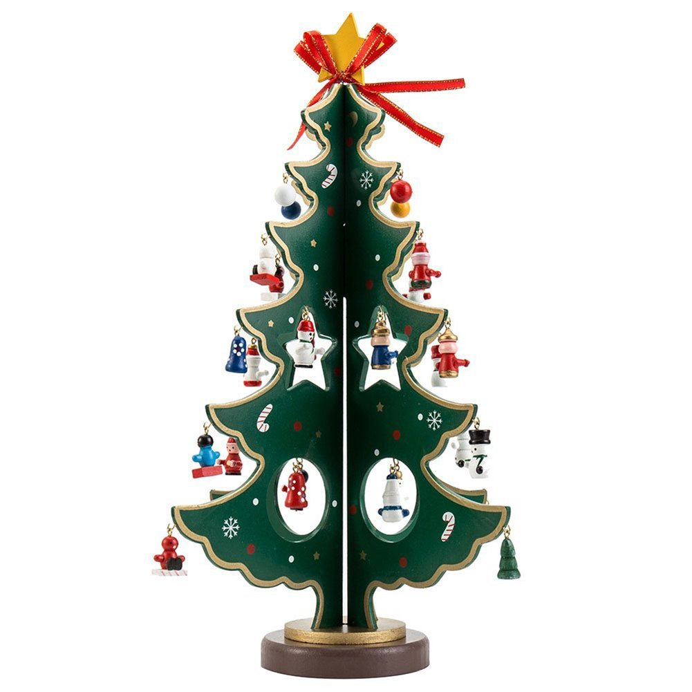 Hivchinge 11.8 Inch Wooden Tabletop Christmas Tree with Miniature Christmas Ornaments Desktop Xmas Tree Decorations with Small Hanging Christmas Toys