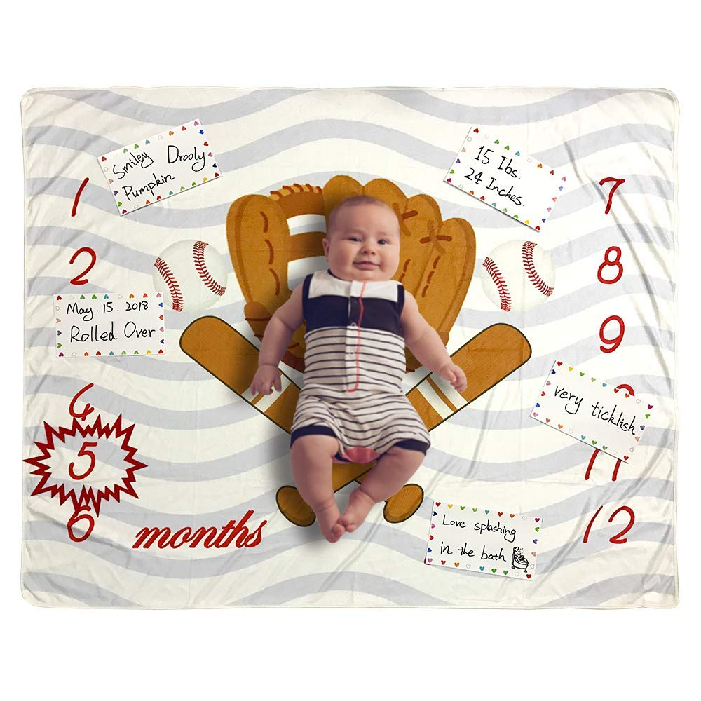 6d6f0843c Amazon.com: Baby Monthly Milestone Blanket Photo Prop for Newborn Growth  Photography – Baseball Sports Month Blanket for Baby Boy Shower Gift  (Baseball): ...