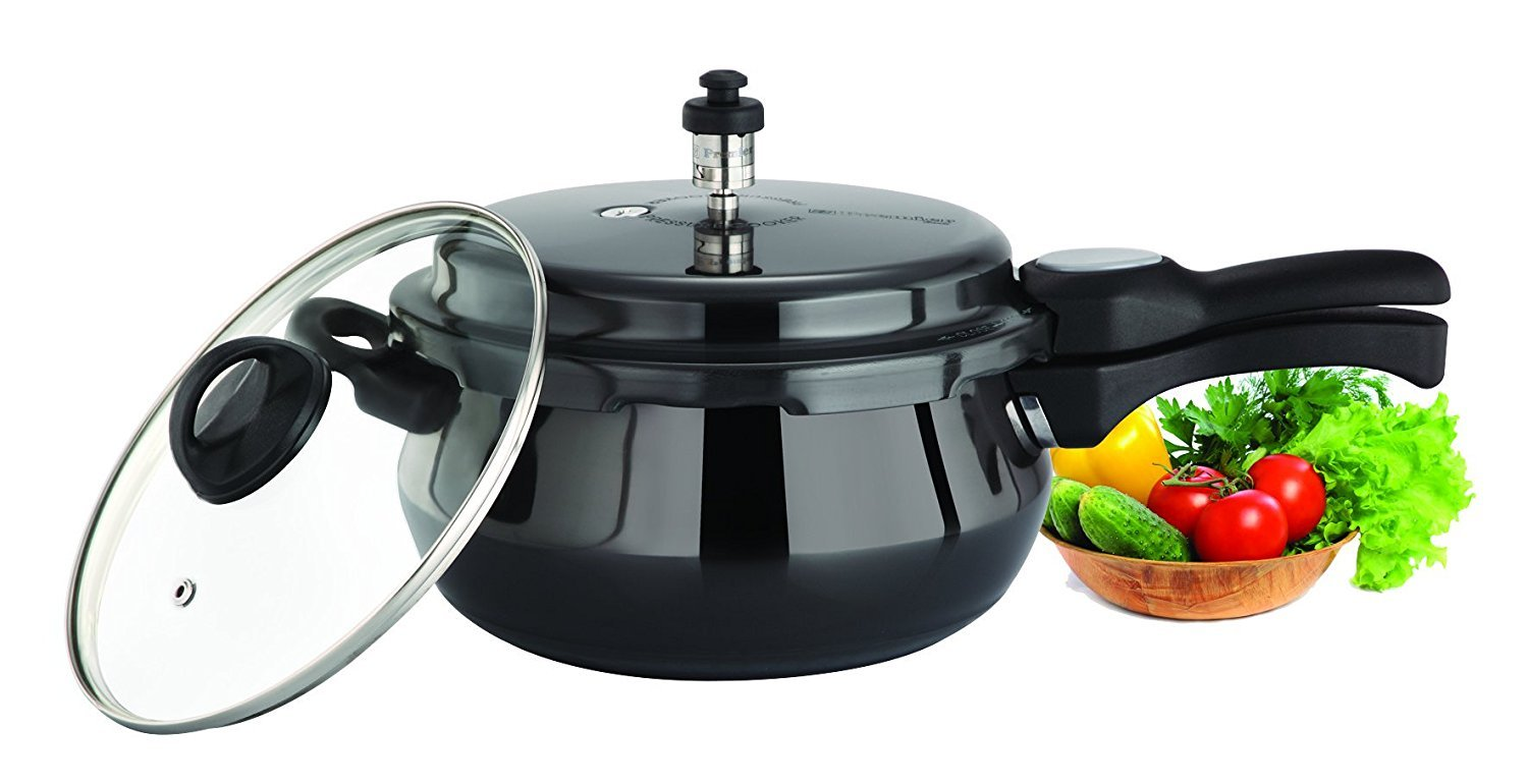 Premier Cucina Trendy Black Handi Pressure Cooker with Glass Lid 5.5 Ltr Induction Bottom