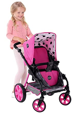 Amazon.com : Hauck Toys for kids iCoo 3 in 1 Doll Stroller, Black and Pink : Baby