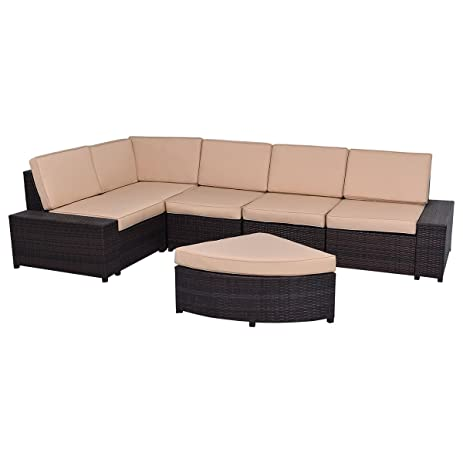Amazon Tangkula 6 PCS Wicker Furniture Set Home Patio Garden