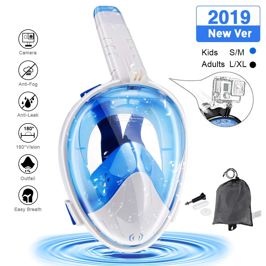 Seafard Full Face Snorkel Mask, 180 Degree Panoramic Larger View Dive Mask with Camera Mount and Adjustable Head Straps,Safe Breathing,Anti-Leak & Anti-Fog for Adult and Kids -L/XL Blue by Seafard