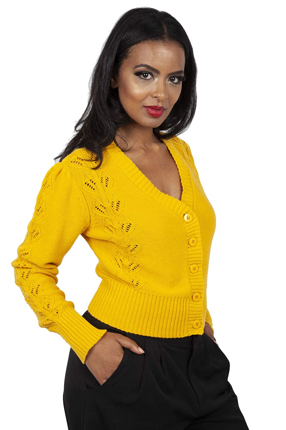 1940s Sweater Styles VOODOO VIXEN Womens Julia 40s Mustard Cardigan £37.00 AT vintagedancer.com