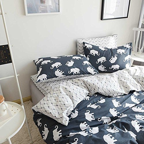 AMZTOP Elephant Print Kids Duvet Cover Twin XL Cotton Navy/Grey,Reversible Animal Geometric Grid 3 Pieces Dormitory Bedding Cover Sets Twin Boys Girls Zipper Closure, NO COMFORTER by AMZTOP (Image #3)
