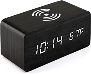 Oct17 Wooden Alarm Clock with Qi Wireless Charging Pad Compatible with iPhone Samsung Wood LED Digital Clock Sound Control Function, Time Date, Temperature Display for Bedroom Office Home - Black