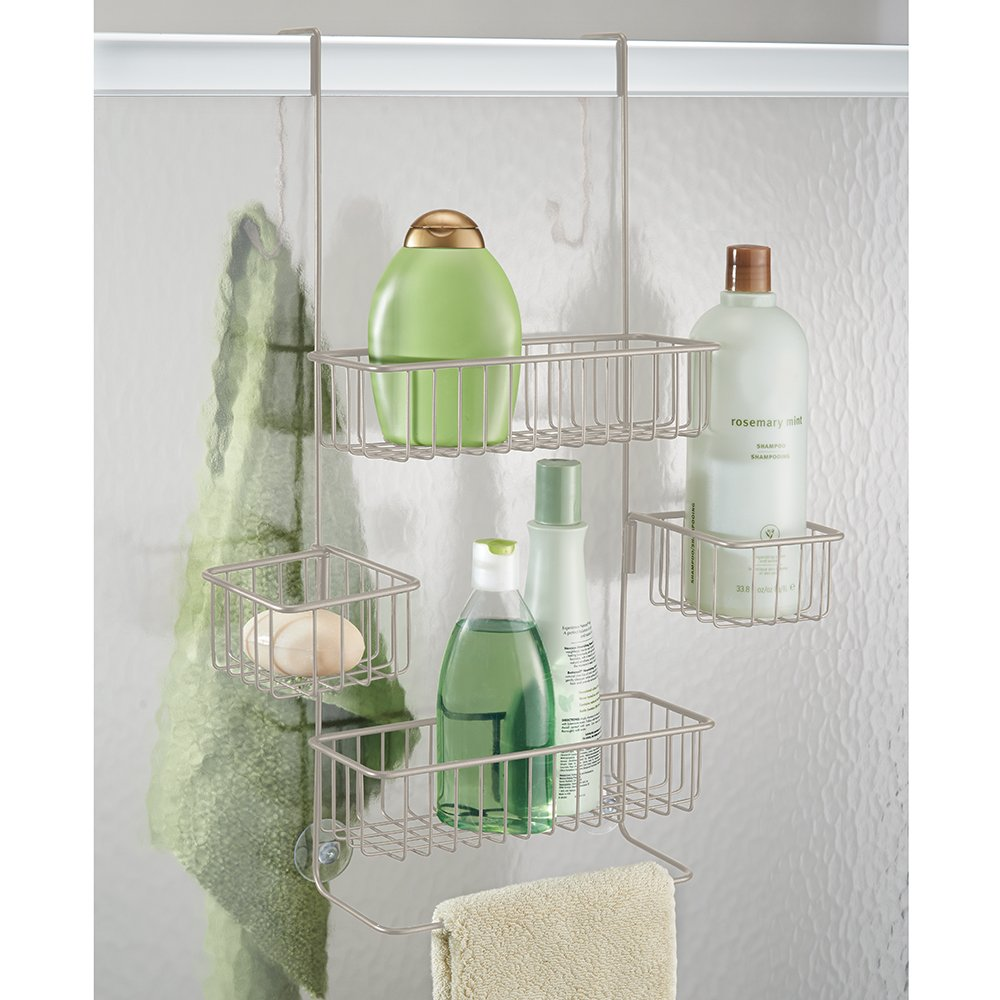 InterDesign Metalo Handheld Shower Head Bathroom Caddy – Storage Shelves for Shampoo, Conditioner and Soap, Satin