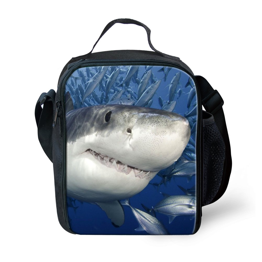 Amzbeauty Shark Lunch Bag for Kids Insulated Reusable Square Portable Lunch Box AMZ-FUD-G-HBC18042G