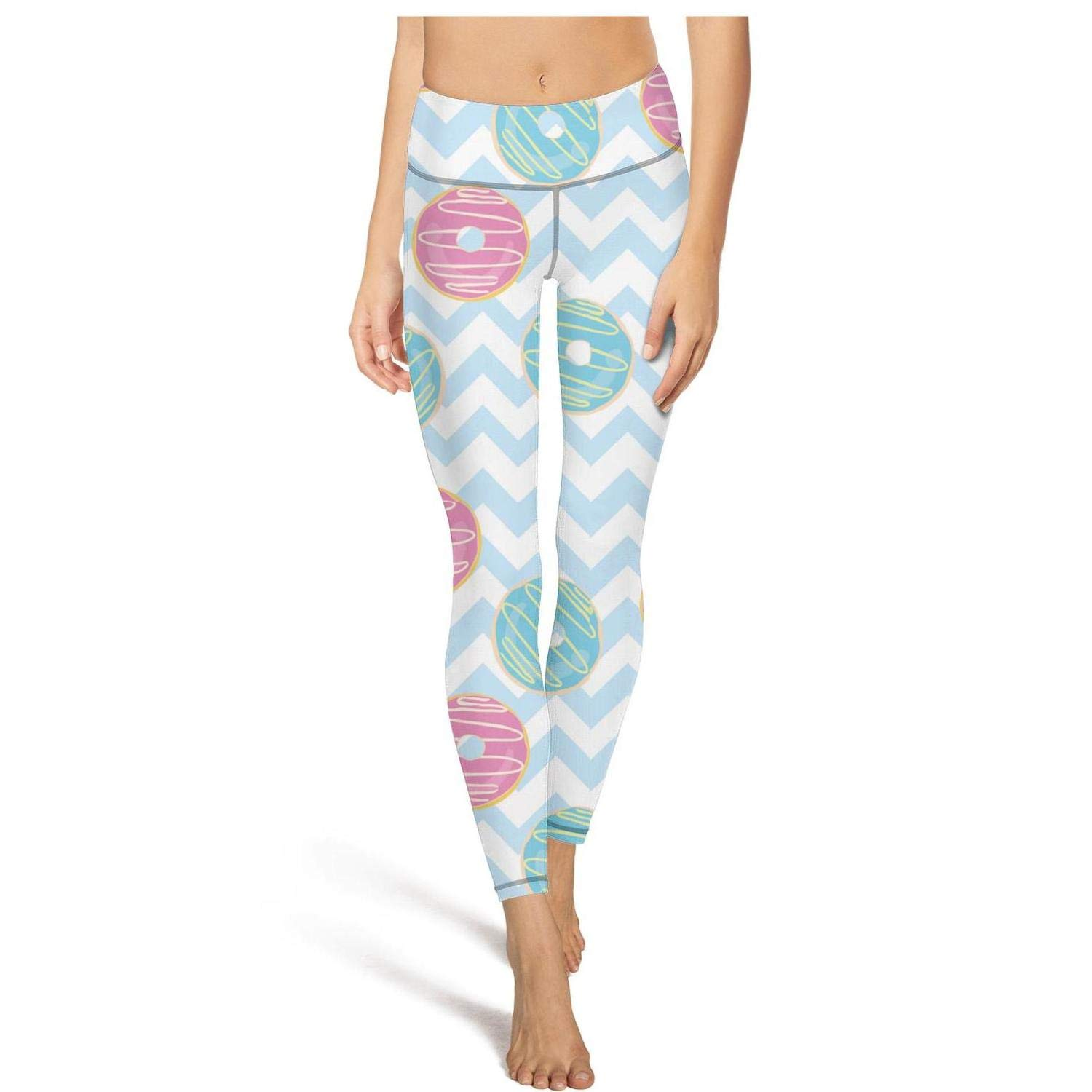 Jufdds Bun Donut Blue Backdrop Girls High Waist Yoga Pants Stretchy Legging Fitness Leggings