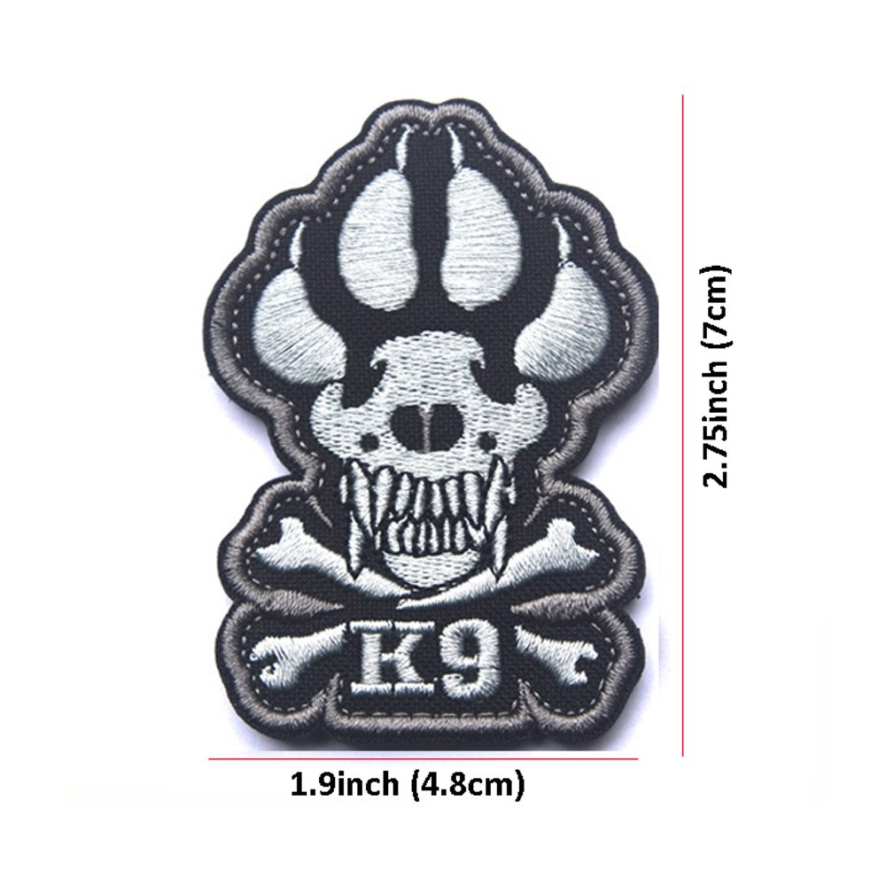 K-9 Paw Handler Claw K9 Dogs Tracker of War SWAT Morale Army Gear Fastener Patch Embroidered Hook Loop Backing Tactial Badge SWAT for Service Animal Vest