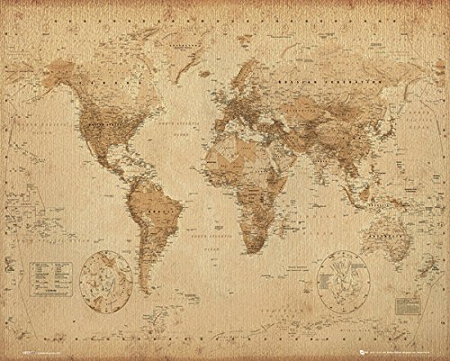 World Map Vintage Antique Style Decorative Educational Poster Print 16 by 20