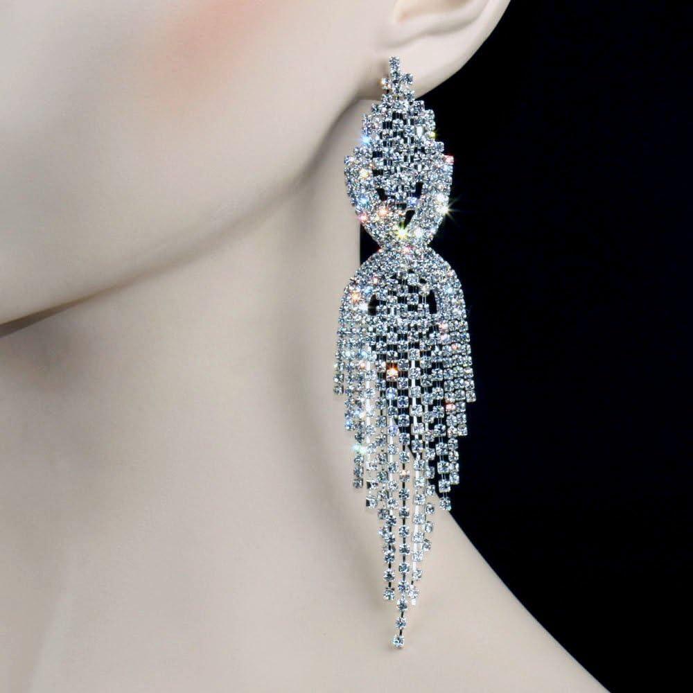 Crystal Big Drop Earrings Silver Tassel