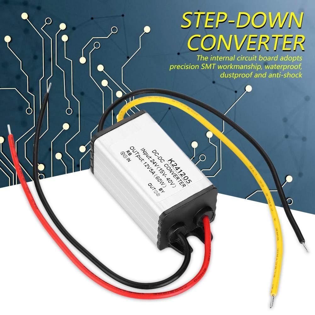 variatore di tensione per sistema solare per autocarri Convertitore da 24 V a 12 V CC 5A 60 W Adattatore di alimentazione step-down Regolatore riduttore trasformatore