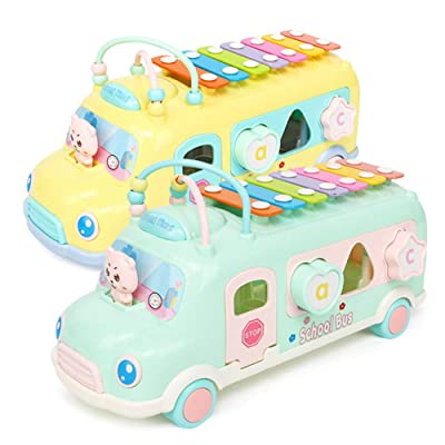 JAMOR Hand Knock on The Piano Toy Car Eight-Tone Piano Toy Puzzle early Education Toy Children's Music Toy Beat The Instrument Push-Pull Bus Toy Car Building Block Toy (2): Office Products