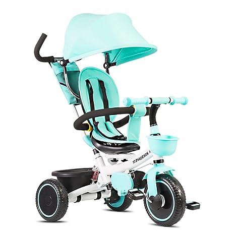 Carro plegable para bicicleta para niños 1-6 años, cochecito de bebé, barra