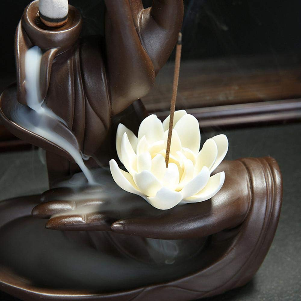 Buddha Backflow Incense Holder,  Home Lous Incense Burner with 10PCs Backflow  Incense, Ceramic Incense Holder Incense  Burner (Lotus Style) by YYW (Image #3)