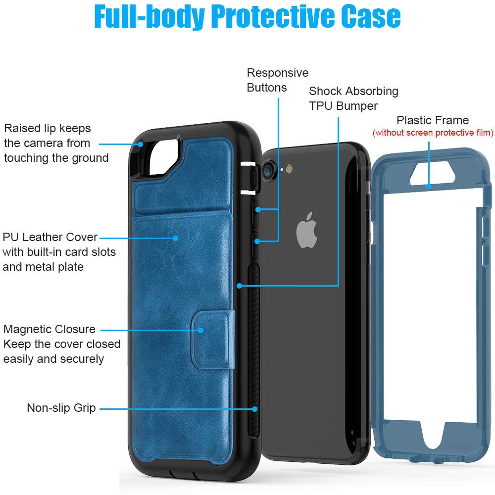 iPhone 8 Case, iPhone 7 Case iPhone 6/6s Wallet Case with Card Slot Holder Shockproof Protective PU Leather Wallet Case for Apple iPhone 8/7/6/6s (4.7 inches) [All Black] (Blue/Black)