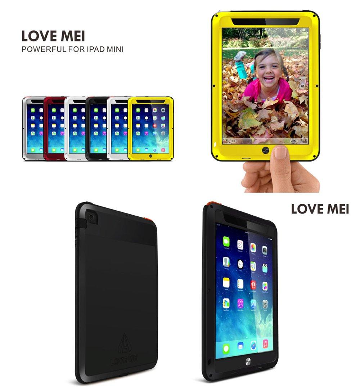 Love Mei Resistente al Agua a Prueba de Golpes Gorilla Glass Caso Amarillo Aluminio Metal Carcasa para iPad Mini 1//2
