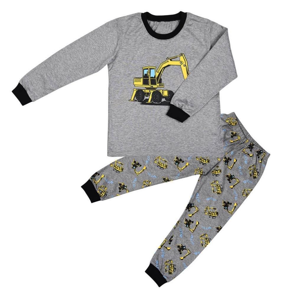 Jimmackey 2pcs Completini Neonato Maniche Lunghe Trattore Stampa T-Shirt Cime + Striscia Pantaloni Bambino Ragazzi Abiti Set