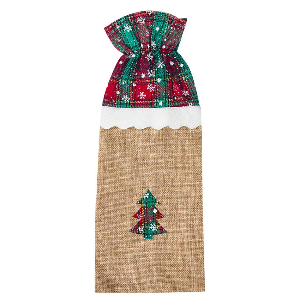 Lotus.flower Christmas Wine Gift Bags, Santa Claus,Christmas Tree Drawstring Pouch Red Wine Bottle Covers Table Dinner Home Party Decors (Christmas Tree)