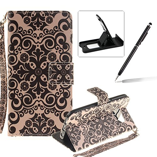 Strap Leather Case for Samsung Galaxy S7 Edge,Flip Wallet Cover for Samsung Galaxy S7 Edge,Herzzer Retro Flower Pattern Magnetic Closure Purse Folio Smart Stand Cover with Card Cash Slot Soft TPU Inner Case for Samsung Galaxy S7 Edge + 1 x Free Black Cellphone Kickstand + 1 x Free Black Stylus Pen