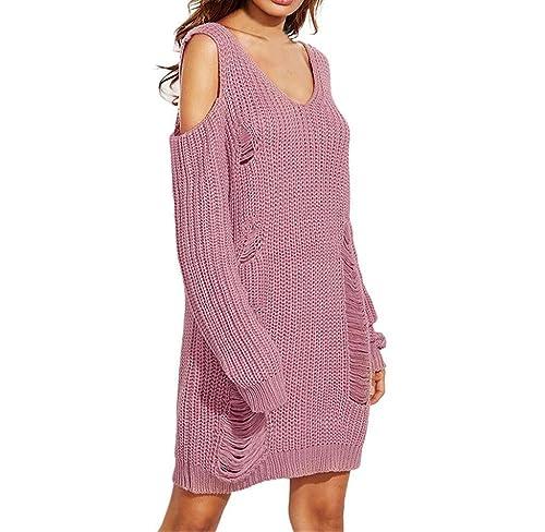 Suéter tejido de Manga larga, Holacha Jersey de punto de sin tirantes de Cuello de V elegante moda r...