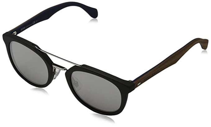 35f15ac7d6 Amazon.com  Hugo Boss Mens 0777 S Sunglasses Black Brown Silver ...