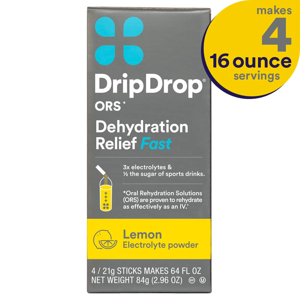 DripDrop ORS Electrolyte Hydration Powder Sticks, Lemon Flavor, Makes (4)  16oz Servings