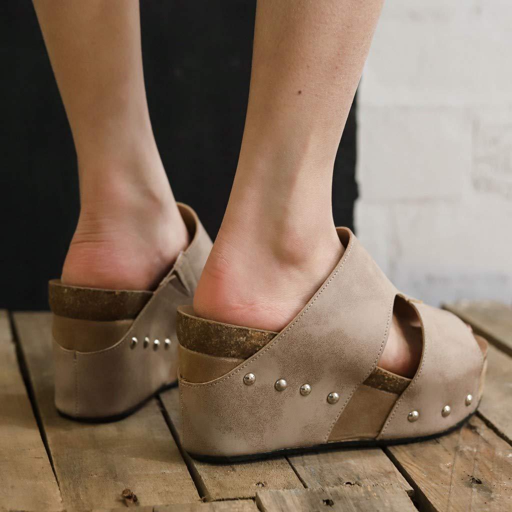 YEZIJIN Hot Sale Women Summer Rivet Beach Sandals Boho Casual Wedges Shoes Thick Bottom Slipper Slipper Heels Platform Flats Shoes for Women Ladies Girl Indoor Outdoor Clearance 2019 Best