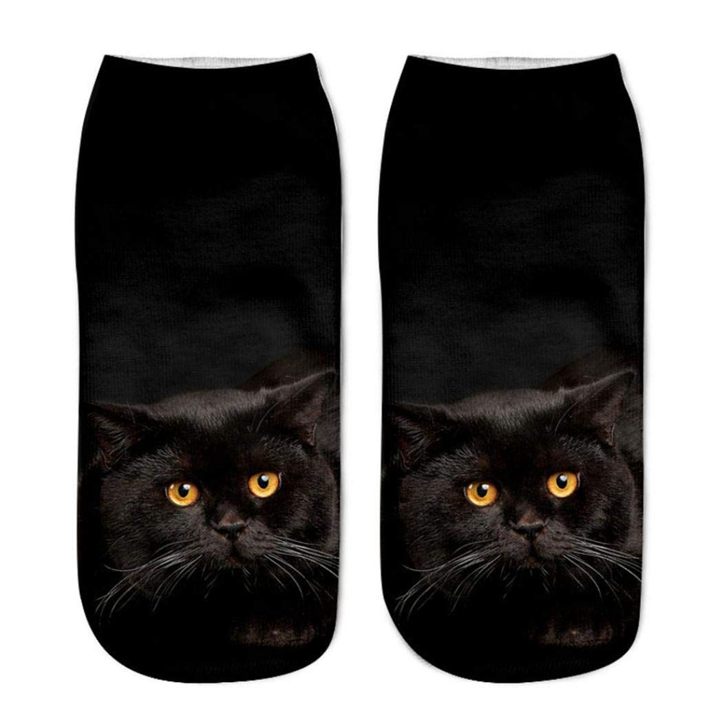 Womens Mens Cute 3D Cat Printed Anklet Casual Novelty Funny Short Socks (F)