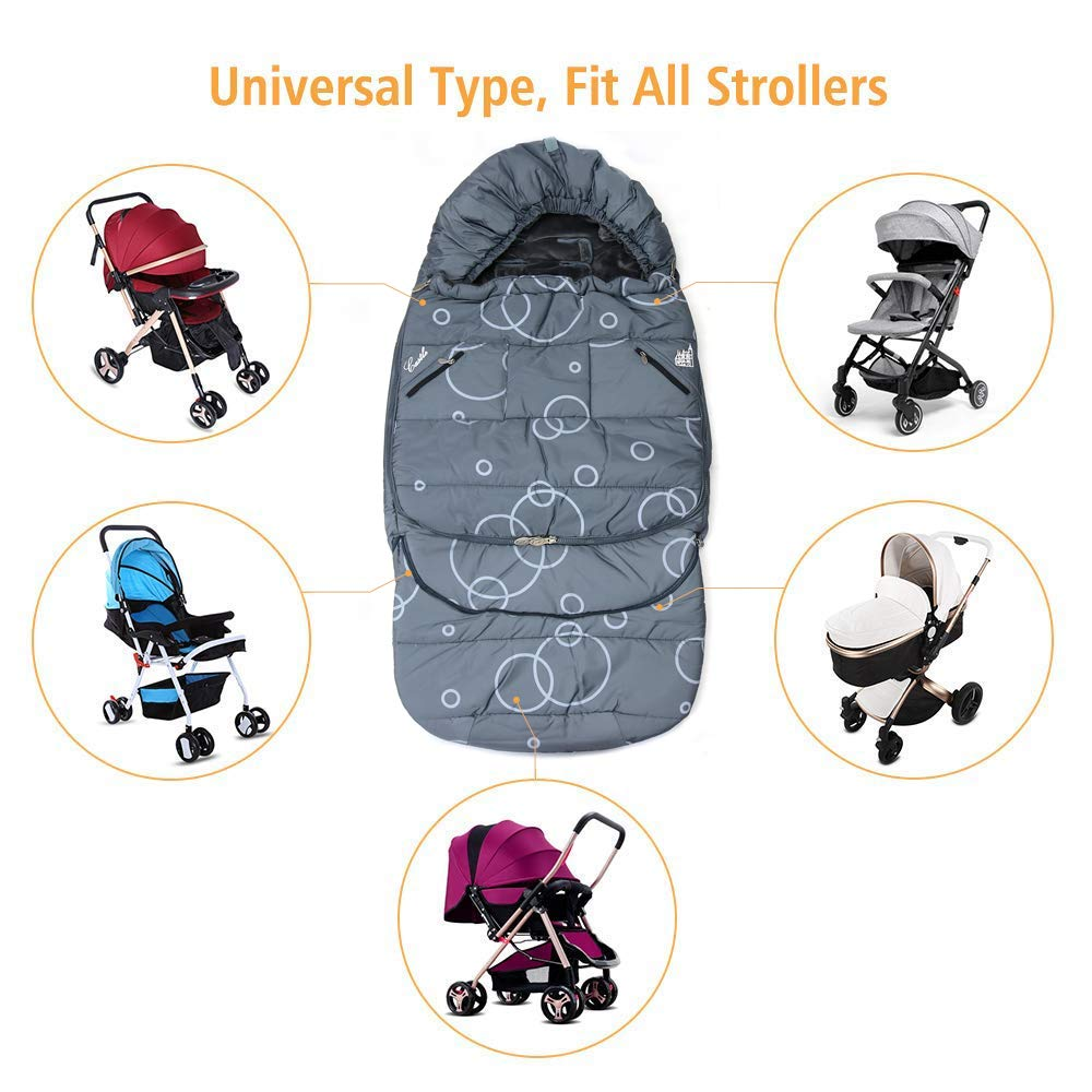 Wonder buggy Winter Outdoor Tour Waterproof Baby Infant Stroller Sleeping Bag Warm Footmuff Sack with Plush Interior (Gray) by Wonder buggy (Image #3)