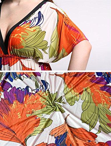 JOTHIN Frauen Batwing Boho Strandkleid Oversize Bunt Sommerkleid Damen Abendkleider Lang Orange XXz1VnmQ
