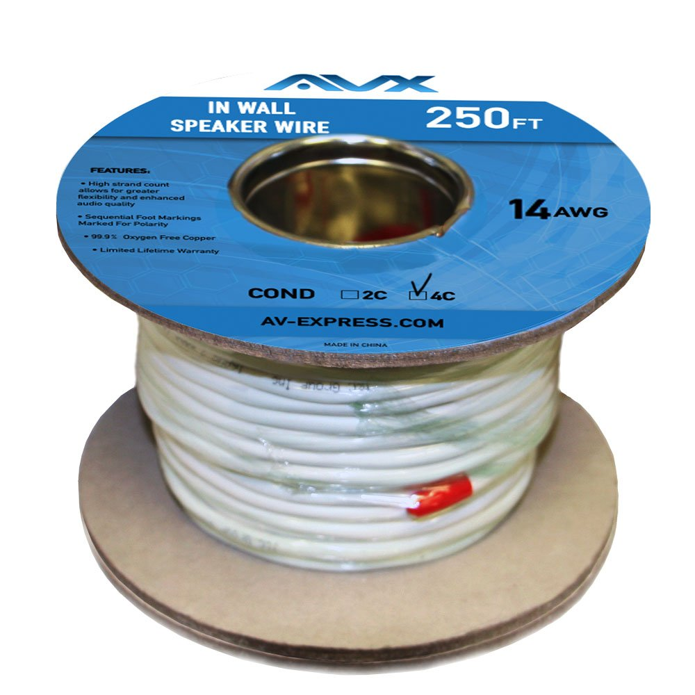 AVX Audio - 250 Feet 14 AWG CL2 Rated 4-Conductor High Purity Oxygen Free Copper Speaker Wire - 110-2001
