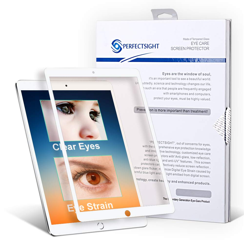 PERFECTSIGHTスクリーンプロテクターiPad Pro 9.7 / iPad Air 55%に相当するアンチブルーライトフィルターHDクリアアンチ指紋強化ガラス[ホワイト]   B07P11T6X1