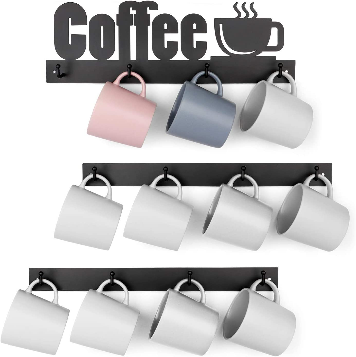 HULISEN Metal Coffee Mug Rack with 12 Hooks, Wall Mounted Coffee Cup Holder with Coffee Letter Sign, Tea Cup Hanger for Bar Kitchen Organizer Display, Coffee Nook Decor, Black