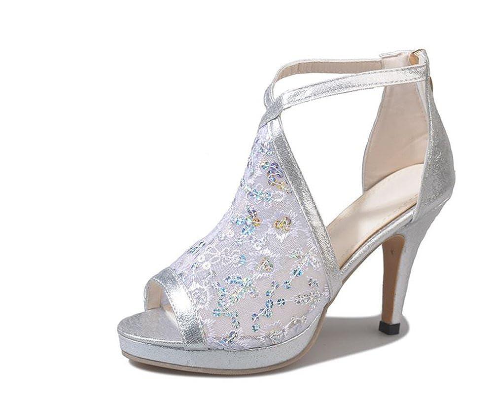 bbc3208cf649aa Women s Lace Bridal High Heel Platform Peep Toe Shootie Lace High Heel  Shootie with Flatback Crystals(White-37 6 B(M) US Women)  Amazon.co.uk   Shoes   Bags