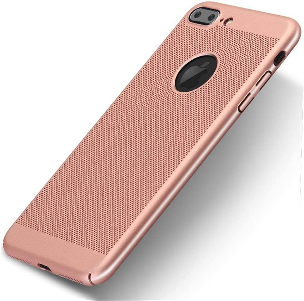 VIVICOM Breathable Ultra Slim Thin Case for iPhone 7 Plus / 8 Plus, Hard Plastic Full Protective Anti Fingerprint Breathing Cover (Gold)