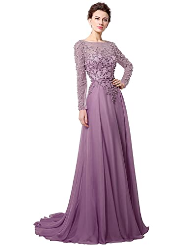 Anmor Chiffon Mother of the Bride Groom Formal Wedding Dresses Long Sleeves Party Evening Gown ARLX0...